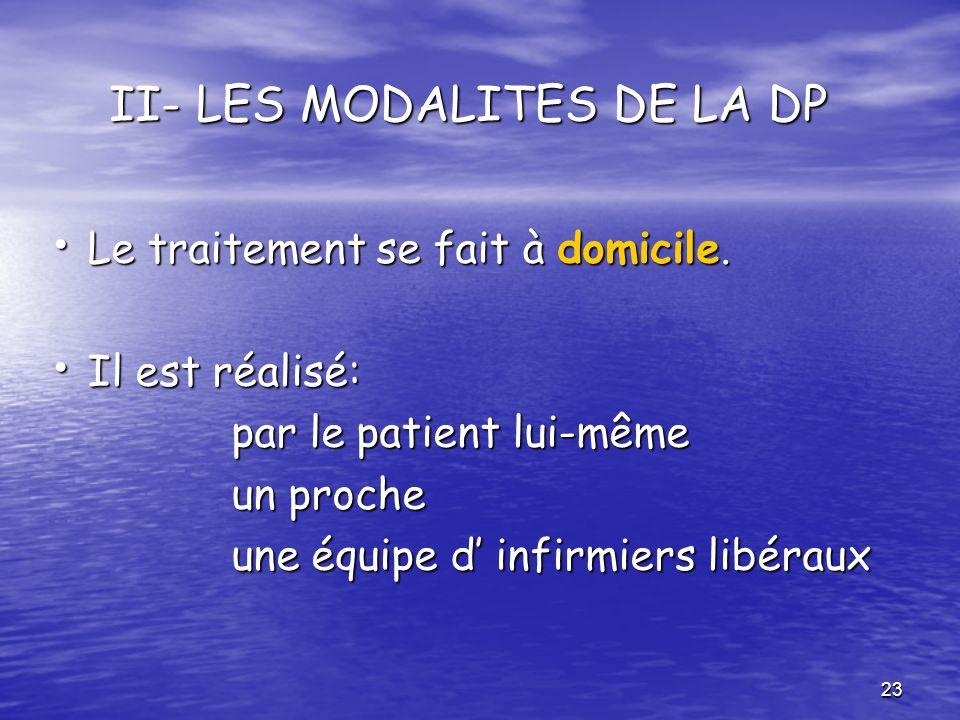 II- LES MODALITES DE LA DP