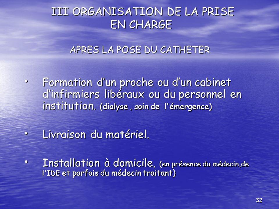 III ORGANISATION DE LA PRISE EN CHARGE APRES LA POSE DU CATHETER