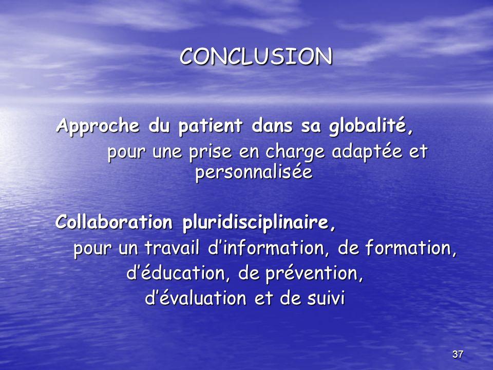 CONCLUSION Approche du patient dans sa globalité,
