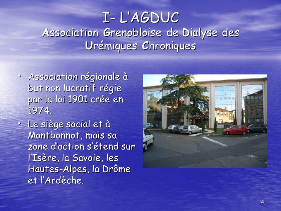 I- L'AGDUC Association Grenobloise de Dialyse des Urémiques Chroniques