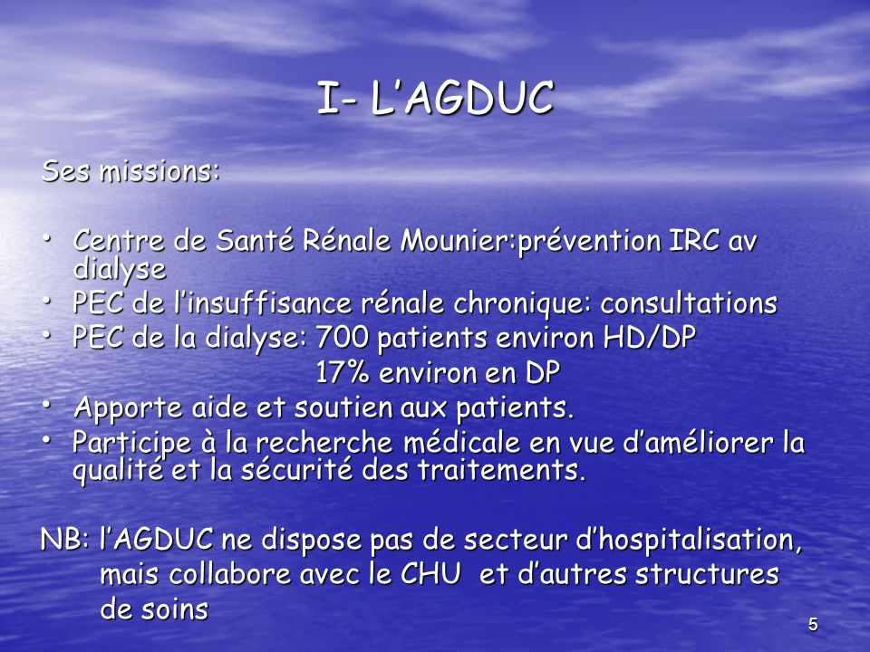 I- L'AGDUC Ses missions:
