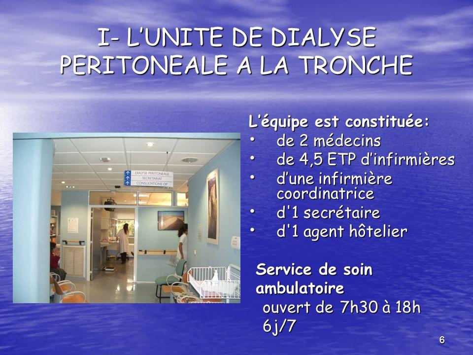 I- L'UNITE DE DIALYSE PERITONEALE A LA TRONCHE