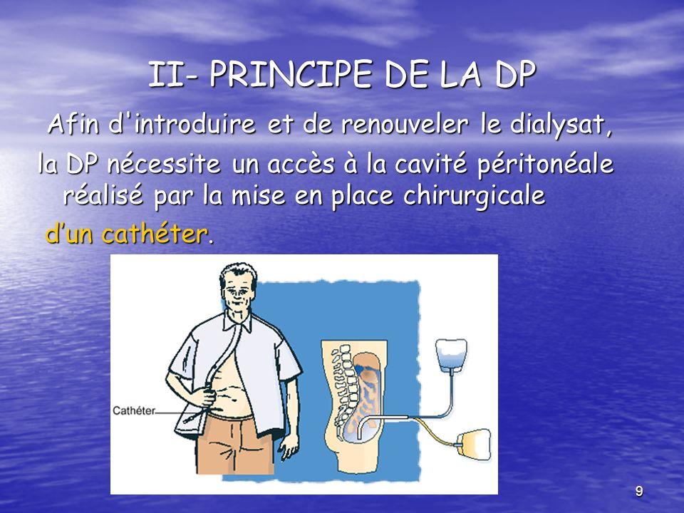 II- PRINCIPE DE LA DP Afin d introduire et de renouveler le dialysat,