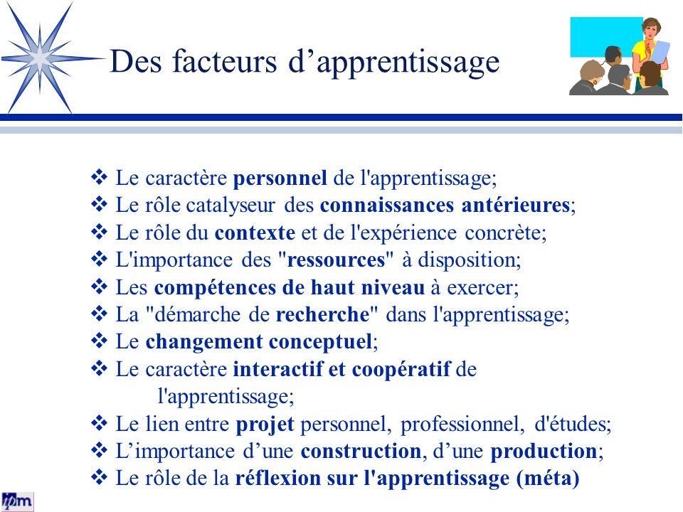 Des facteurs d'apprentissage