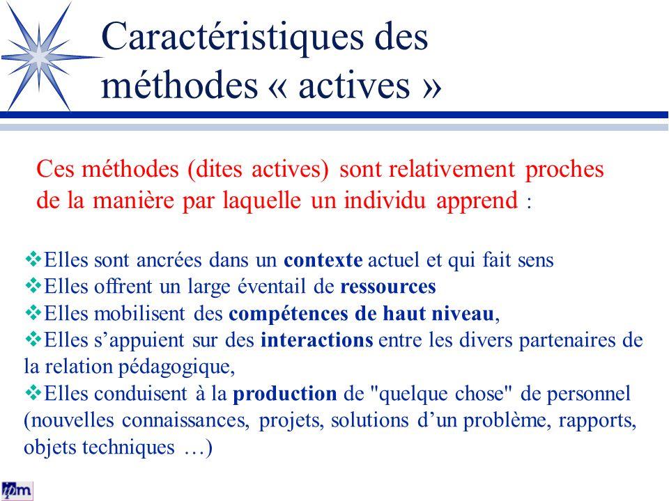Caractéristiques des méthodes « actives »