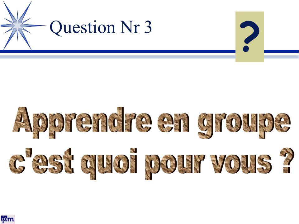 Question Nr 3 Apprendre en groupe c est quoi pour vous