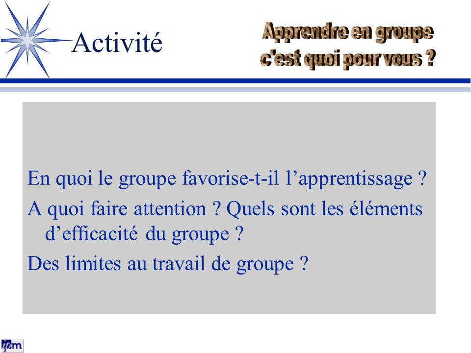 Activité Apprendre en groupe c est quoi pour vous