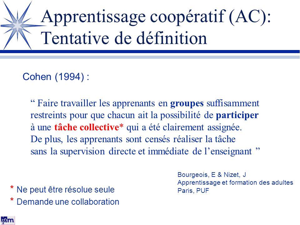 Apprentissage coopératif (AC): Tentative de définition