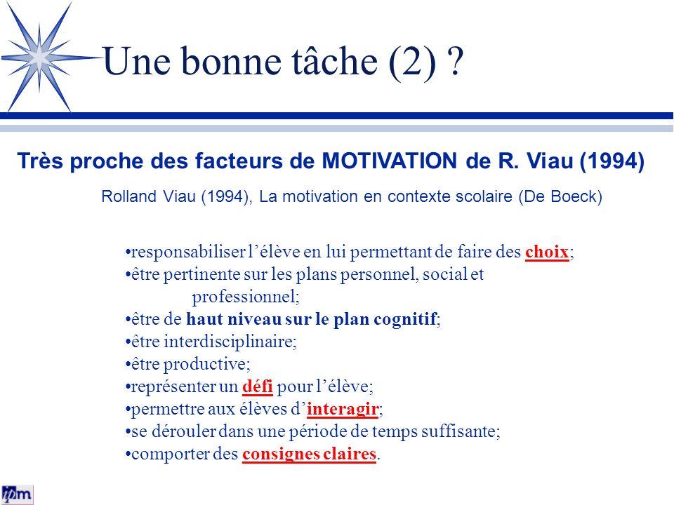 Une bonne tâche (2) Très proche des facteurs de MOTIVATION de R. Viau (1994) Rolland Viau (1994), La motivation en contexte scolaire (De Boeck)