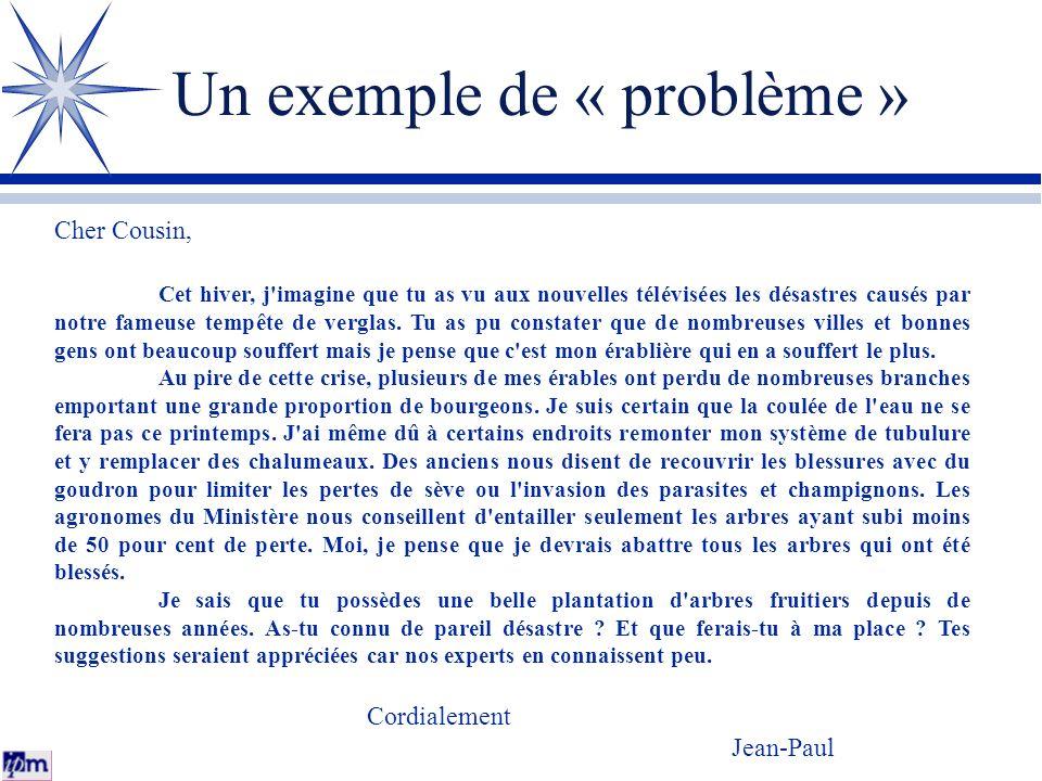 Un exemple de « problème »