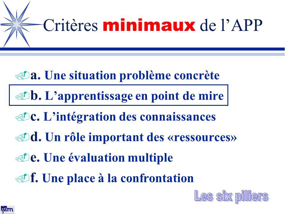 Critères minimaux de l'APP