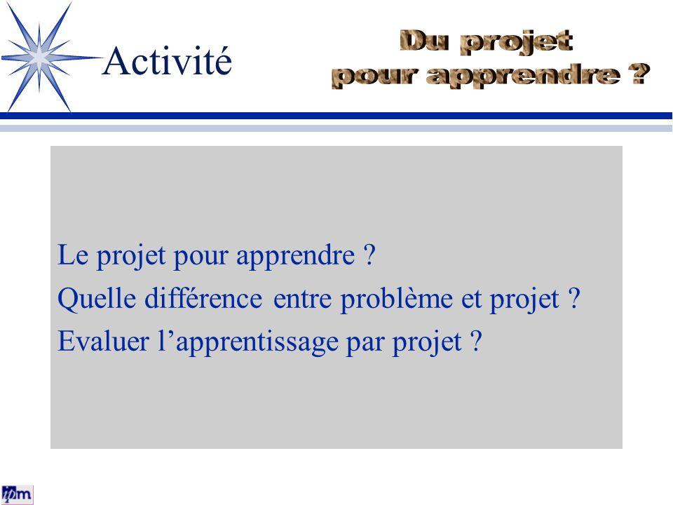 Activité Du projet pour apprendre Le projet pour apprendre