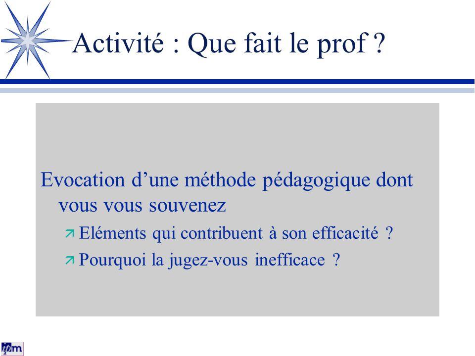 Activité : Que fait le prof