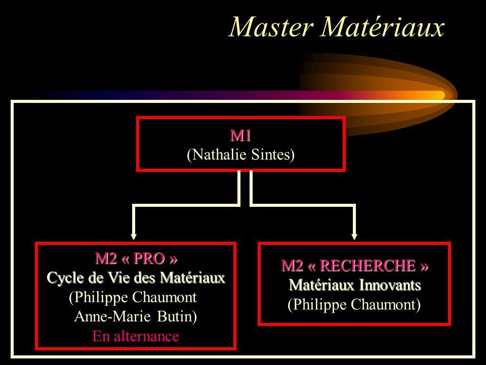 Master Matériaux M1 (Nathalie Sintes)