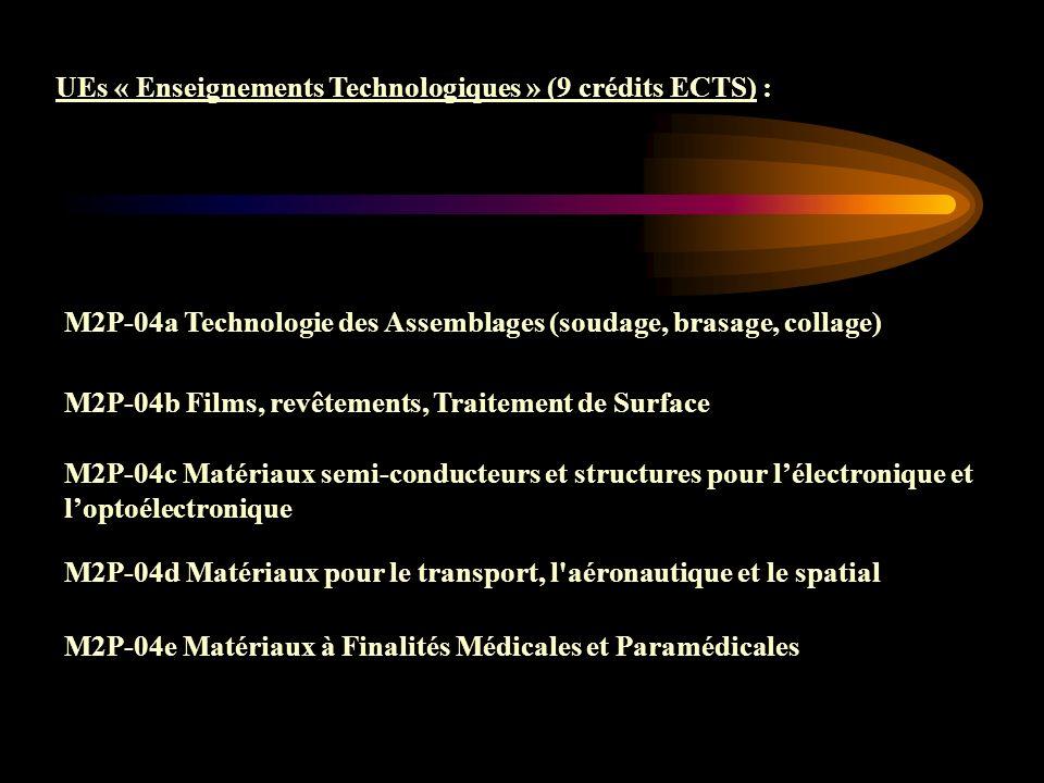 UEs « Enseignements Technologiques » (9 crédits ECTS) :