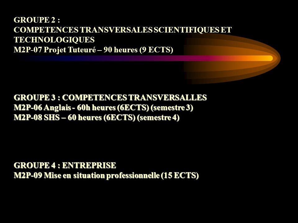 GROUPE 2 : COMPETENCES TRANSVERSALES SCIENTIFIQUES ET. TECHNOLOGIQUES. M2P-07 Projet Tuteuré – 90 heures (9 ECTS)