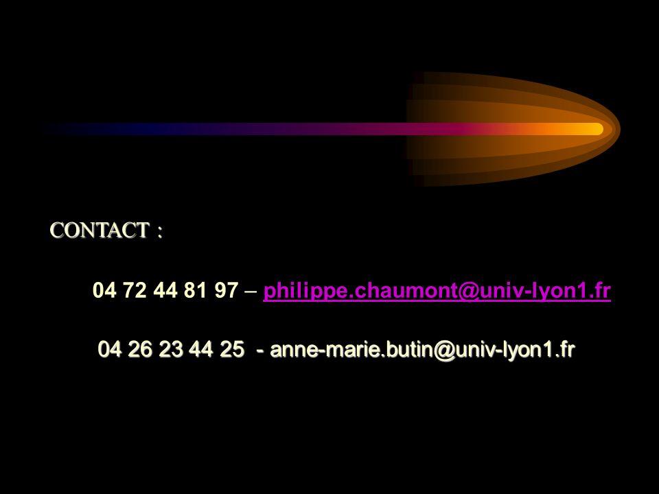 CONTACT : 04 72 44 81 97 – philippe.chaumont@univ-lyon1.fr.