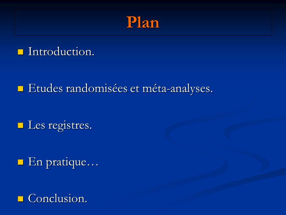 Plan Introduction. Etudes randomisées et méta-analyses. Les registres.