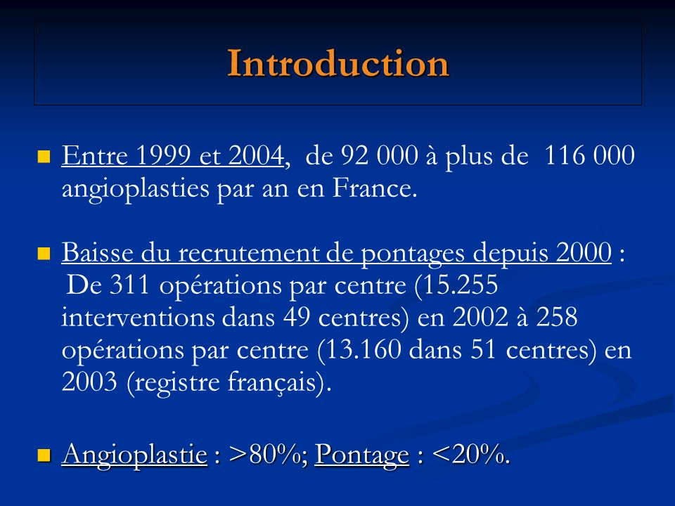 Introduction Entre 1999 et 2004, de 92 000 à plus de 116 000 angioplasties par an en France. Baisse du recrutement de pontages depuis 2000 :