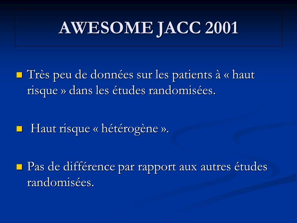AWESOME JACC 2001 Très peu de données sur les patients à « haut risque » dans les études randomisées.