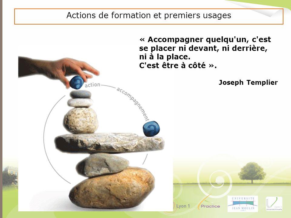 Actions de formation et premiers usages