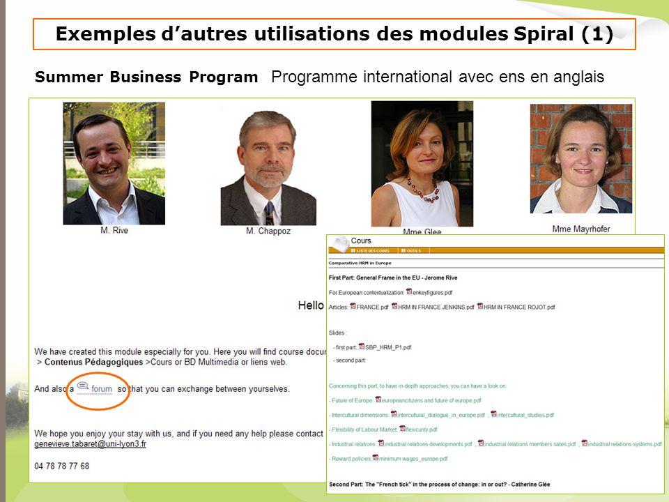 Exemples d'autres utilisations des modules Spiral (1)