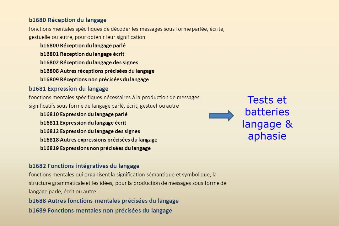 Tests et batteries langage & aphasie