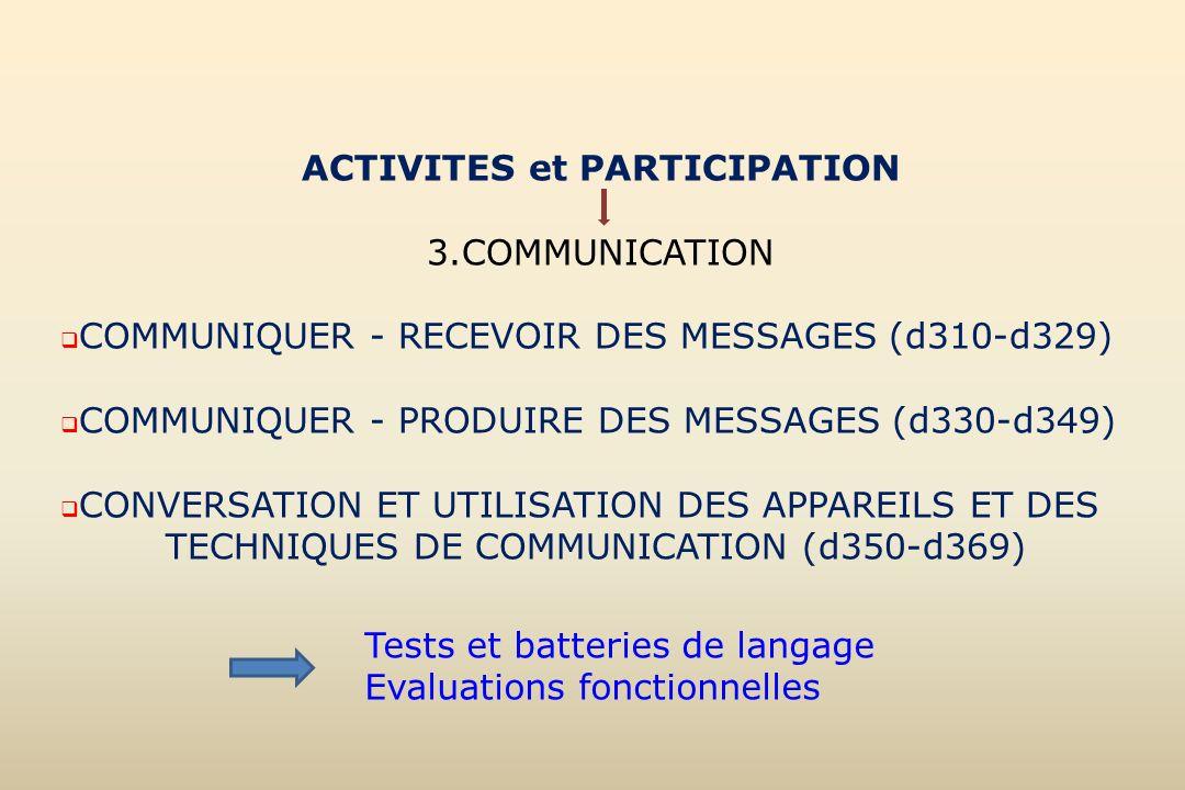 ACTIVITES et PARTICIPATION