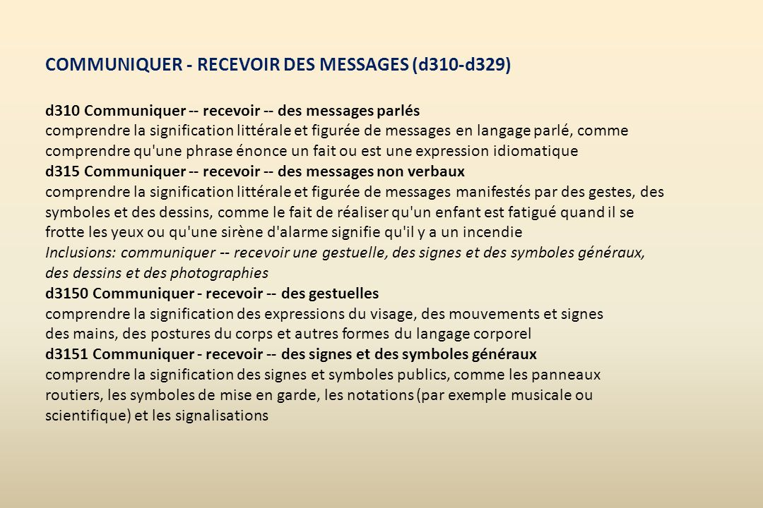 COMMUNIQUER - RECEVOIR DES MESSAGES (d310-d329)