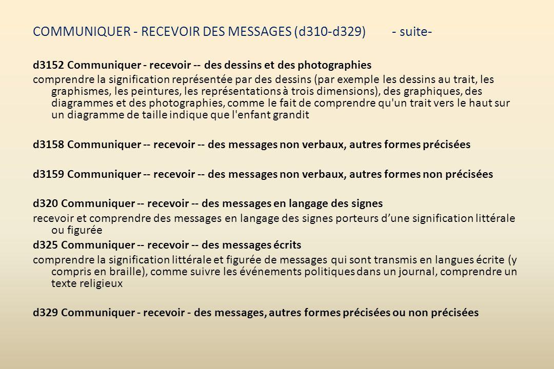 COMMUNIQUER - RECEVOIR DES MESSAGES (d310-d329) - suite-