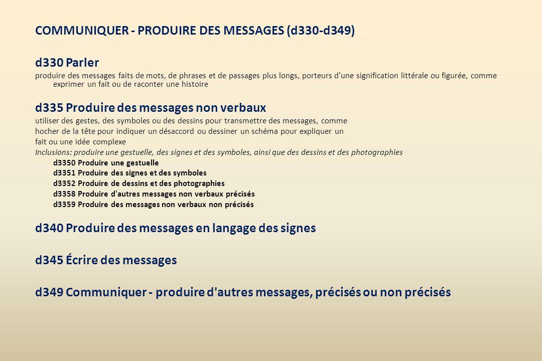 COMMUNIQUER - PRODUIRE DES MESSAGES (d330-d349) d330 Parler