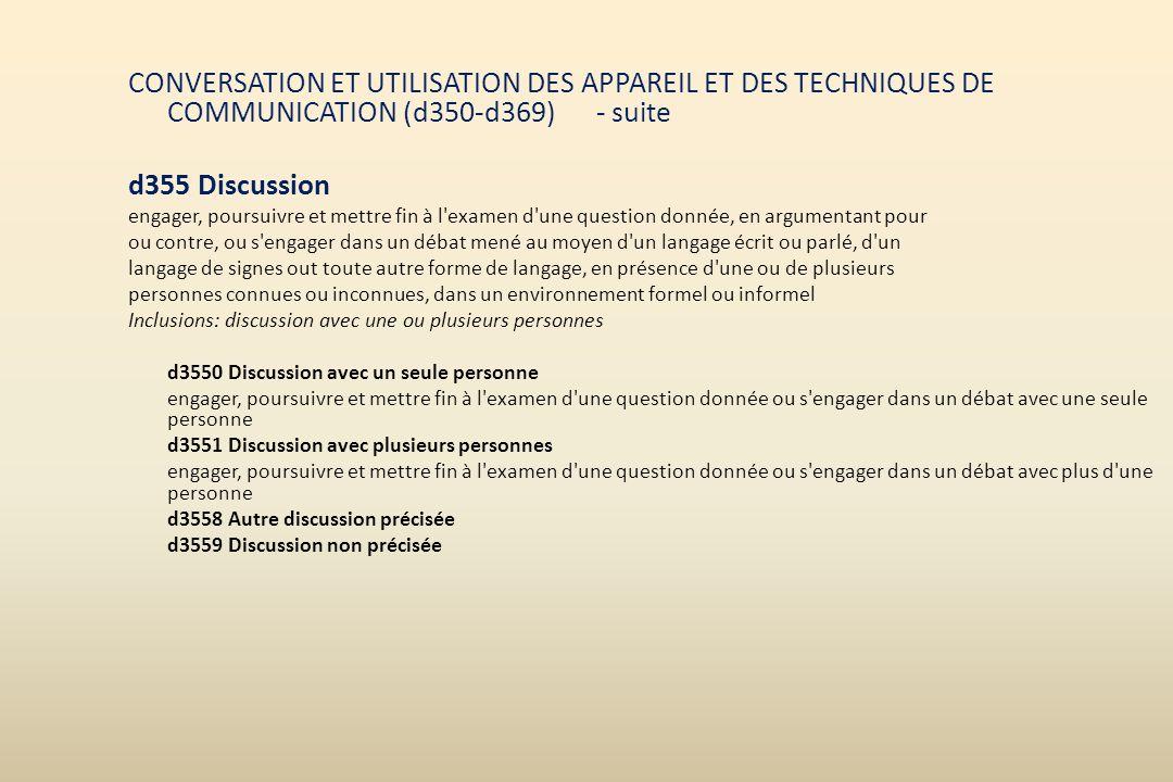 CONVERSATION ET UTILISATION DES APPAREIL ET DES TECHNIQUES DE COMMUNICATION (d350-d369) - suite