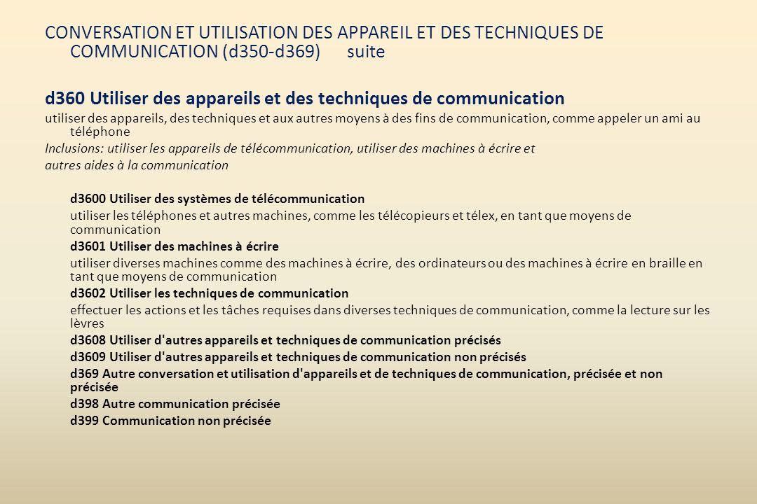 d360 Utiliser des appareils et des techniques de communication