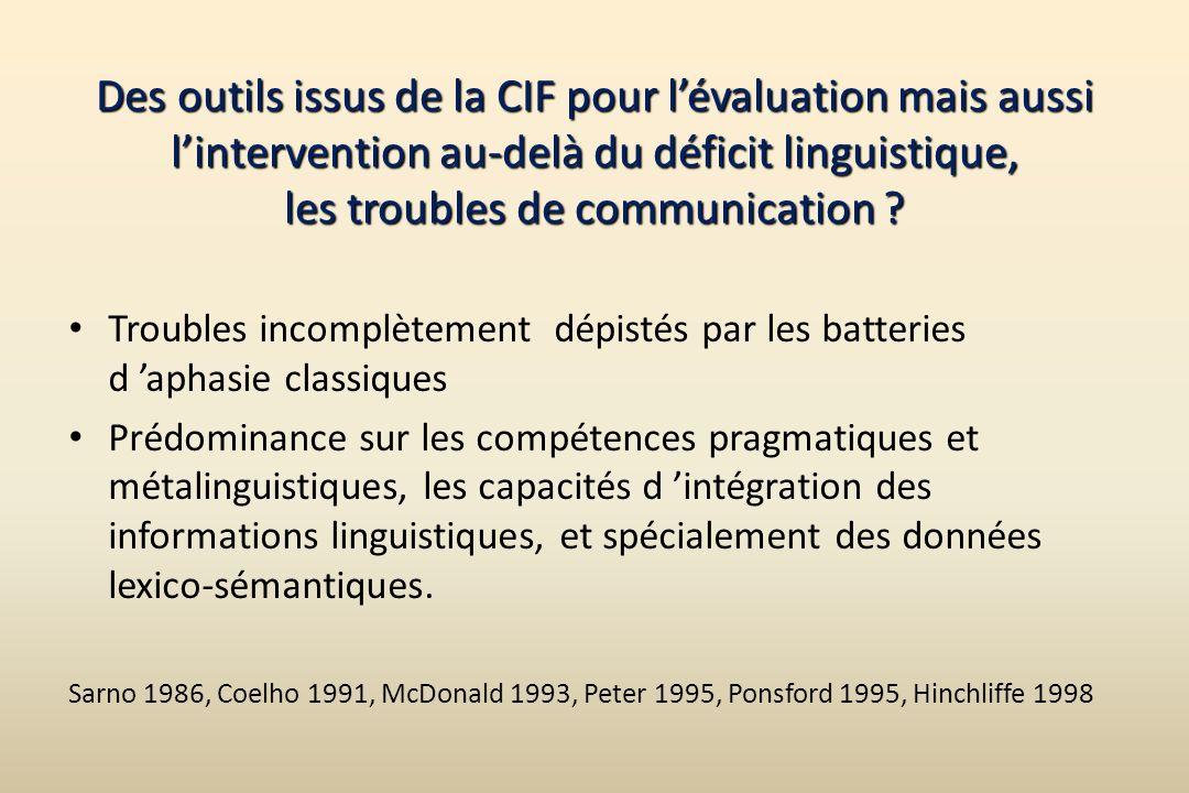 Des outils issus de la CIF pour l'évaluation mais aussi l'intervention au-delà du déficit linguistique, les troubles de communication