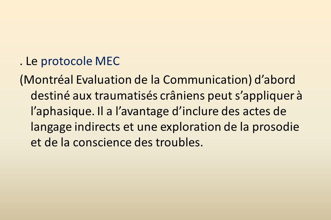 Le protocole MEC (Montréal Evaluation de la Communication) d'abord destiné aux traumatisés crâniens peut s'appliquer à l'aphasique.