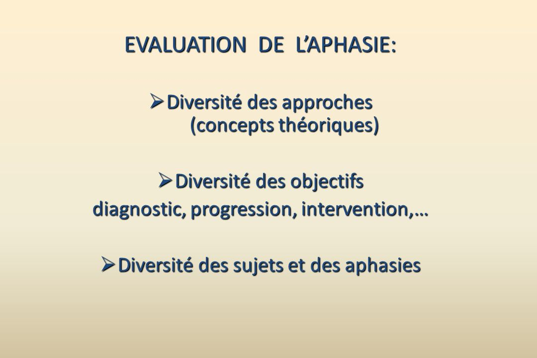 EVALUATION DE L'APHASIE: