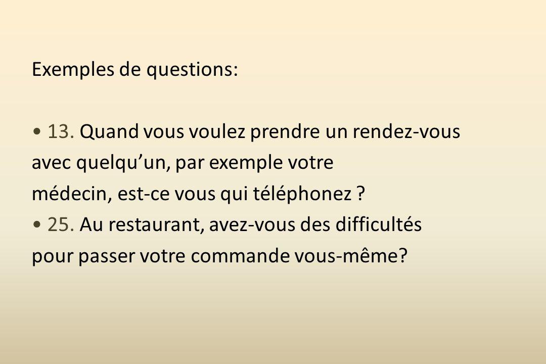 Exemples de questions: • 13