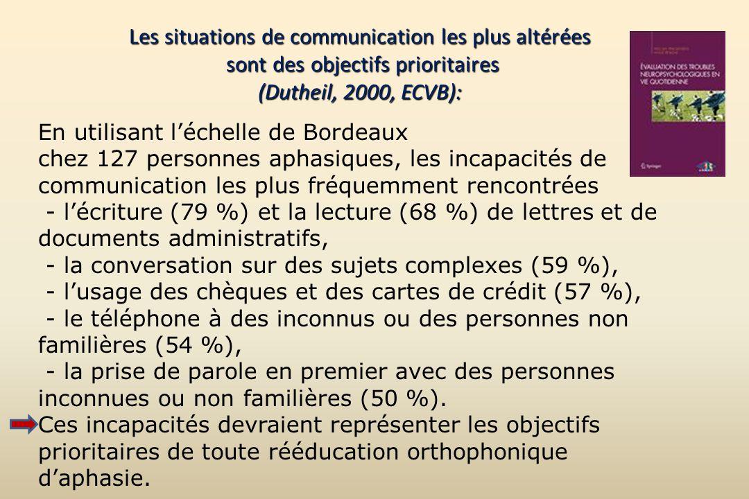 Les situations de communication les plus altérées sont des objectifs prioritaires (Dutheil, 2000, ECVB):