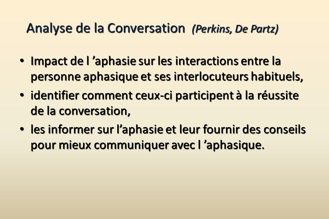 Analyse de la Conversation (Perkins, De Partz)