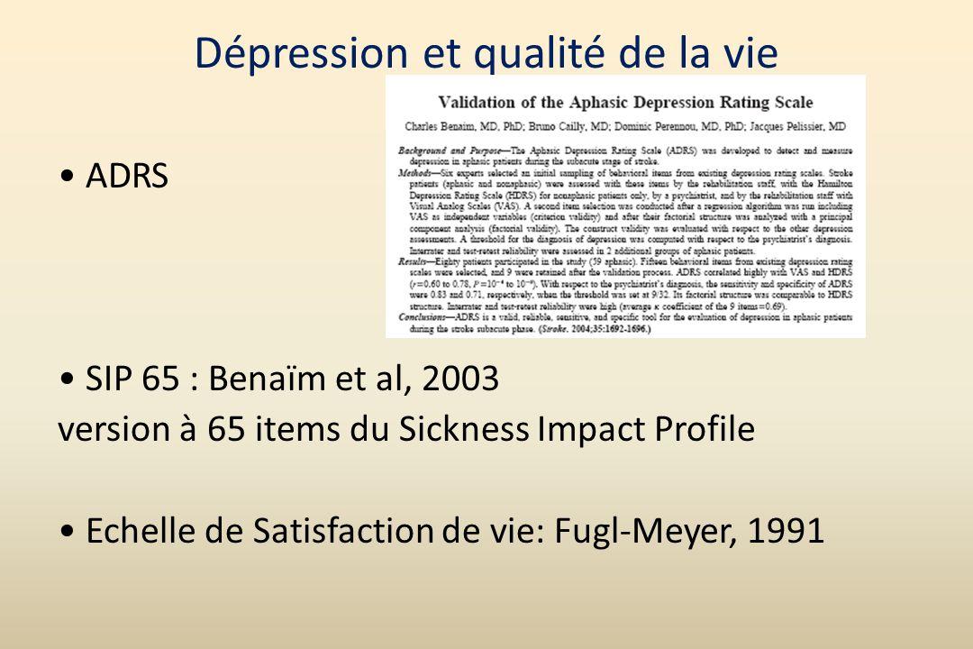 Dépression et qualité de la vie
