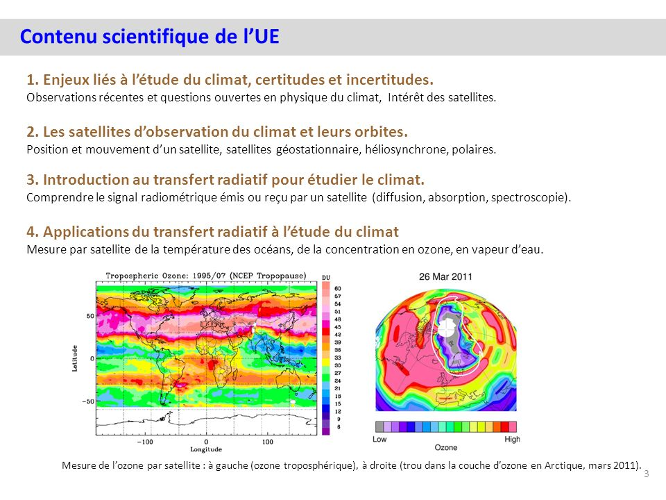Contenu scientifique de l'UE