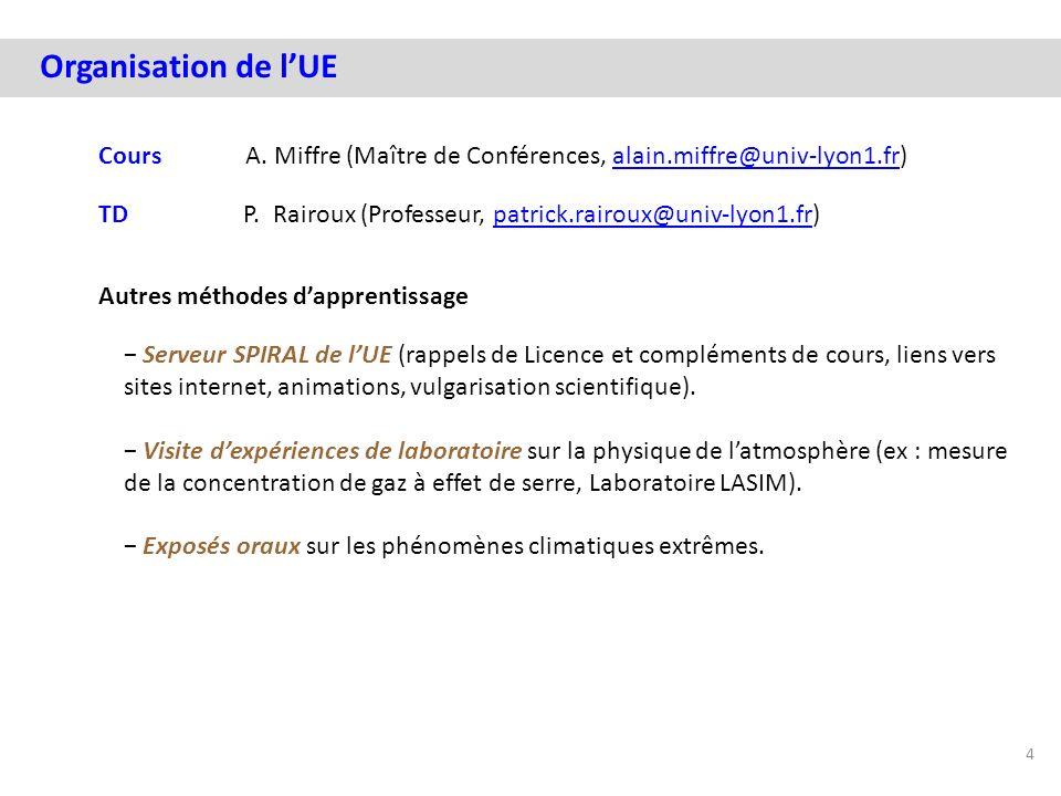 Organisation de l'UE Cours A. Miffre (Maître de Conférences, alain.miffre@univ-lyon1.fr)