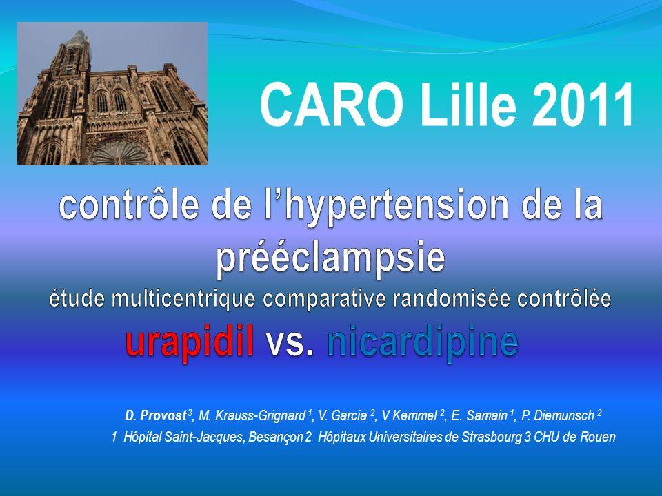 contrôle de l'hypertension de la prééclampsie étude multicentrique comparative randomisée contrôlée urapidil vs. nicardipine