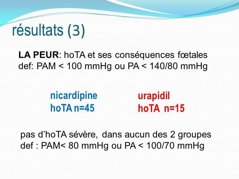 résultats (3) nicardipine hoTA n=45 urapidil hoTA n=15