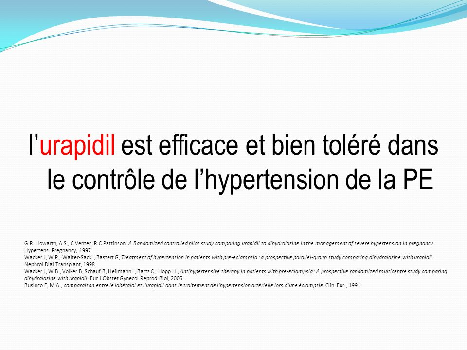 l'urapidil est efficace et bien toléré dans le contrôle de l'hypertension de la PE