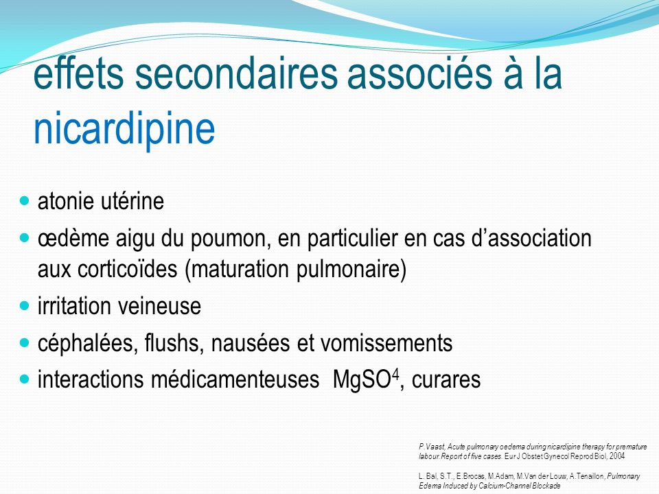 effets secondaires associés à la nicardipine