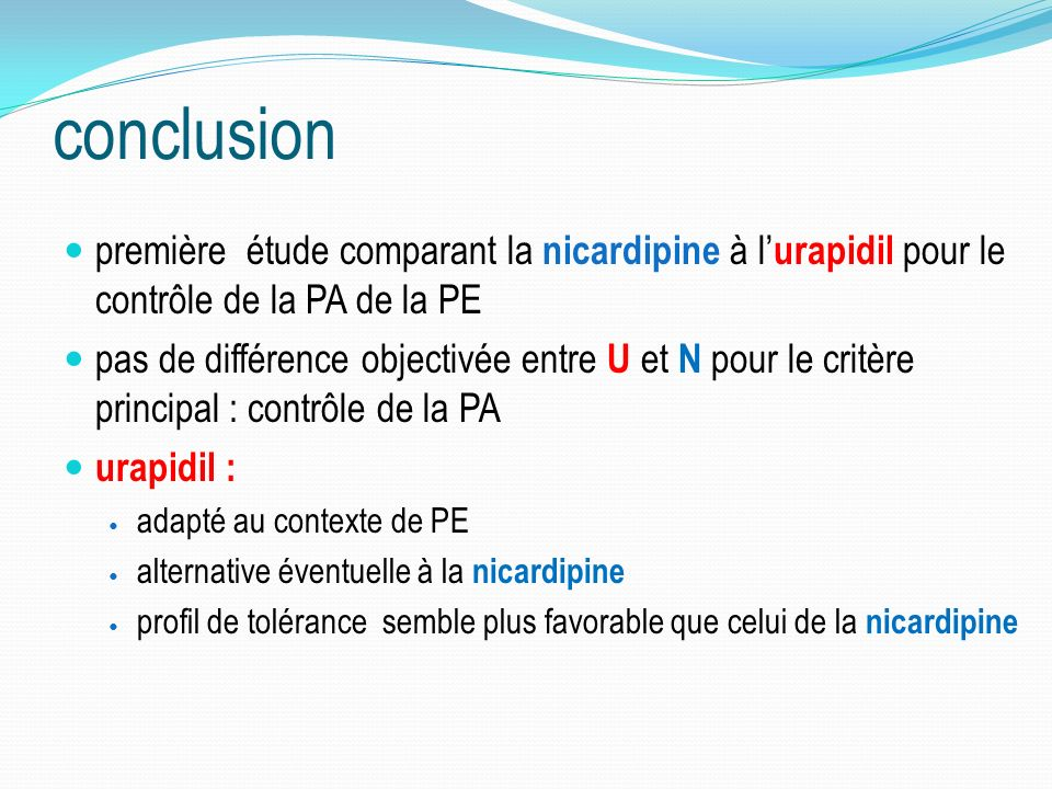 conclusion première étude comparant la nicardipine à l'urapidil pour le contrôle de la PA de la PE.