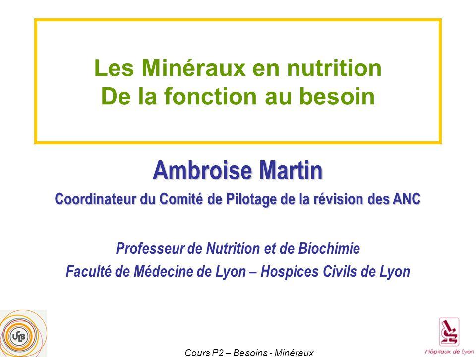 Ambroise Martin Les Minéraux en nutrition De la fonction au besoin