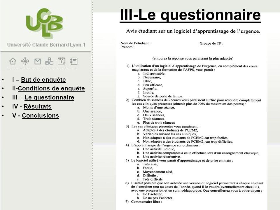 III-Le questionnaire I – But de enquête II-Conditions de enquête