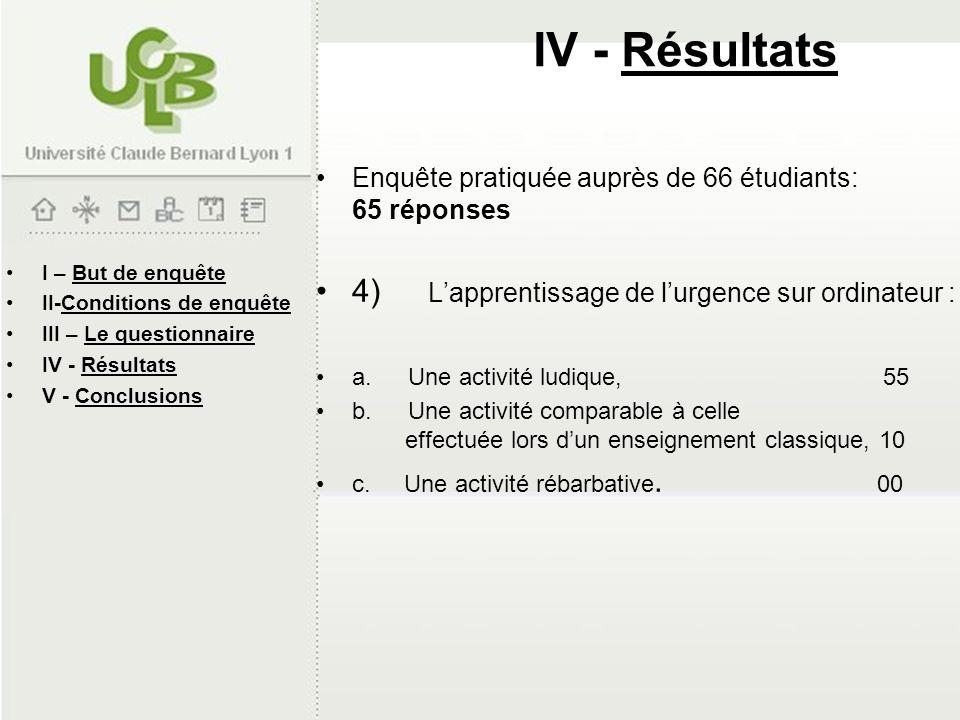 IV - Résultats 4) L'apprentissage de l'urgence sur ordinateur :
